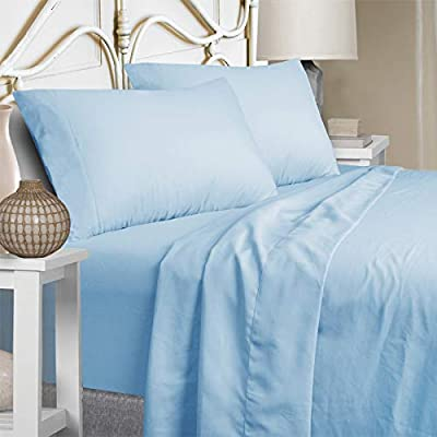 Mejoroom Full Size Sheet Set - Soft Microfiber Bed Sheets,Deep Pocket Fitted Sheet, Hypoallergenic,Wrinkle& Breathable, Fade Resistant - 4 Piece (Full, Lake Blue)