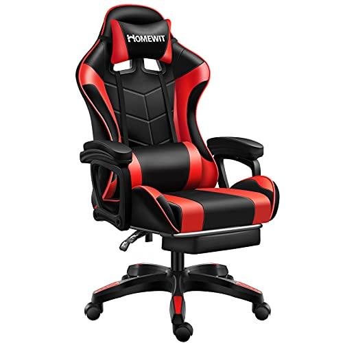 Homewit Gaming Stuhl, ergonomischer Gamer Stuhl, Gaming Sessel Einstellbare Armlehne Einteiliger Stahlrahmen Einstellbarer Neigungswinkel, PC Stuhl für Gamer, Büro, Homeoffice usw.