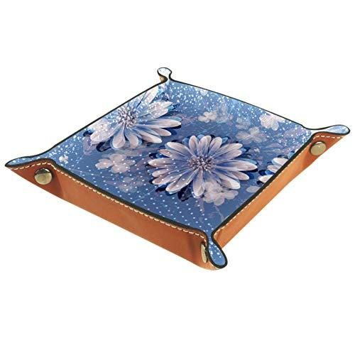 MUMIMI Plato cuadrado de cuero para mujeres y niñas, charola para joyas, diseño de margaritas azules, regalo de cumpleaños para el día de la madre