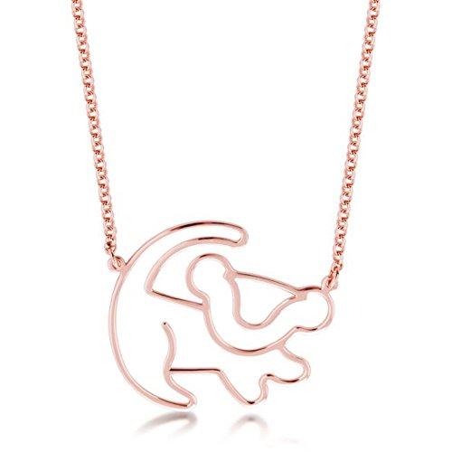 Disney Couture Kingdom Classic - Collar con contorno de Simba chapado en oro rosa