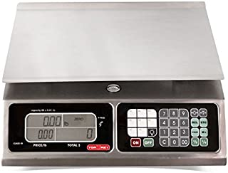 TORREY LPC40L Electronic Price Computing Scale, Rechargeable Battery, Stainless Steel Construction, 100 Memories, 8 Direct Access Keys , 40 lb (Renewed)