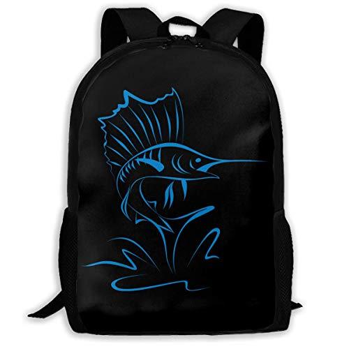 hengshiqi Rucksack Schultasche,Backpack, Adult Backpacks Girl's Shoulder Bag Daypack School Season Sailfish Into The Water Traveling Bags
