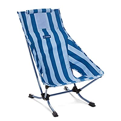 Helinox Beach Chair Lightweight, Lower-Profile, Compact, Collapsible Camping Chair, Blue Stripe