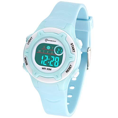 Relojes Infantiles para niños, Reloj Deportivo Digital al Aire Libre a Prueba de Agua con Alarma/Cronómetro, Resistencia al Agua Reloj Infantil Aprendizaje para Niños (Azul Claro)