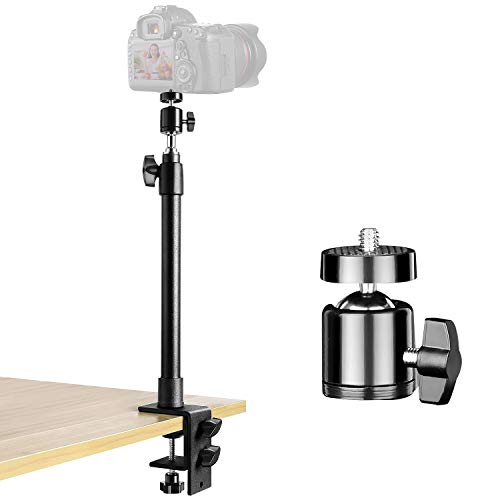 "Desk Camera Mount Stand, 14-25.5 inch Tabletop C Clamp Mount Stand, Adjustable Aluminum Light Stand with 360° Rotatable Ball Head, 1/4"" Screw Tip for DSLR Camera/Ring Light/Video Light"