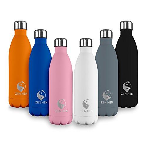 ZenHen Flasche - Vakuumisolierte, Doppelwandige Trinkflasche & Wasserflasche aus hochwertigem Edelstahl. 24 Stunden kühl & 12 Stunden warm, 500, 750ml 1l (Grau, 500ml)