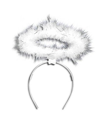 Islander Fashions Womens Black White Fluffy Halo Angel Fairy Headband Ladies Fancy Xmas Parties Accessories White U88329