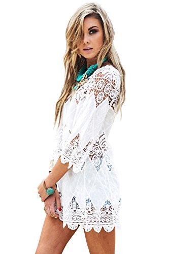 Women's Bathing Suit Cover Up Lace Crochet Tunic Bikini Beach Dress (M, White)