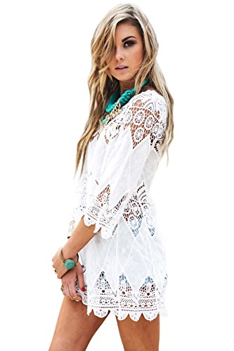 Women's Bathing Suit Cover Up Lace Crochet Tunic Bikini Beach Dress (M, White)