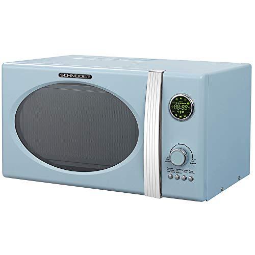 SCHNEIDER Mikrowelle mit Grill hellblau 23 Liter 1000 Watt Retro Design