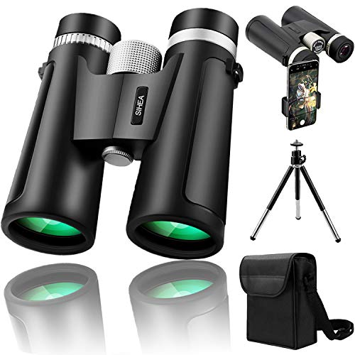 SIHEA 12x42 Binoculars Telescope for Adults Kids with Tripod, HD Compact Binocular Zoom with Weak Light Night Vision for Hunting,Bird Watching,Hiking,Camping - 20mm Large Eyepiece with BAK4 FMC Lens