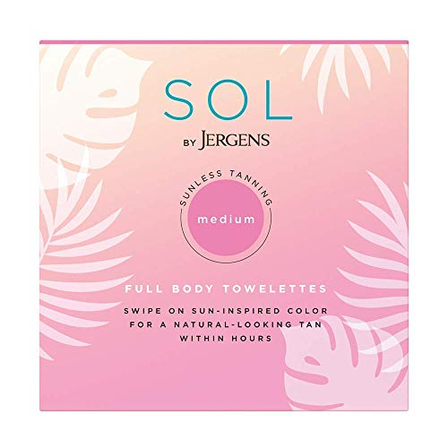 SOL by Jergens Full Body Self Tanner Towelettes, 6 Count Streak-free Natural-Looking Sunless Tanning Wipes, Infused with Coconut Water and Vitamin E, Sun-inspired Color in 4 Hours