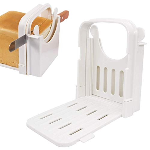 DOUBLE 2 C Bread Slicer Guide for Homemade Bread, Bagel Loaf Sandwich Cutter Slicer Foldable and Adjustable with 5 Slice Thicknesses Mold Cutter Machine
