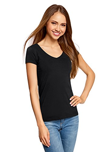 oodji Collection Mujer Camiseta Básica con Escote en V, Negro, ES 34 / XXS