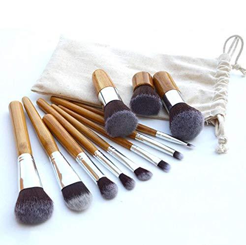 11 Pinceau de maquillage en bambou Protection de l'environnement cosmétiques Kabuki Pinceau de maquillage Set de fondation plate brosse