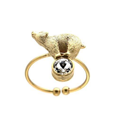 Sweet Deluxe Ring Eisbär, mattgold/Crystal I Damen-Ring I Mode-Schmuck Ring für Frauen I Ringe Rings für Mädchen I modisches Design-Accessoires