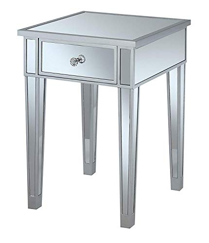 Convenience Concepts Gold Coast Mirrored End Table with Drawer, Silver / -