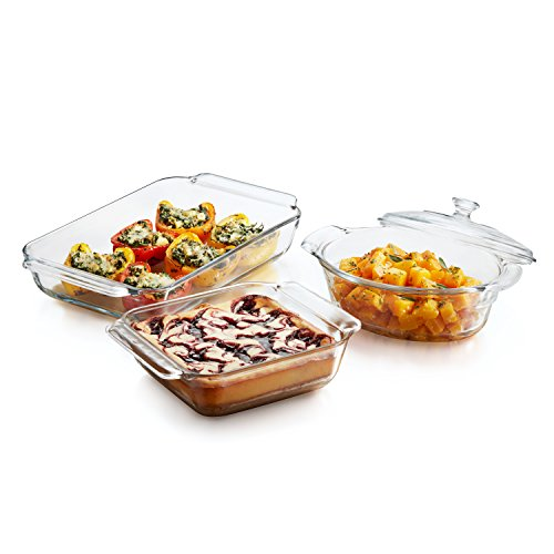 Libbey Baker's Premium Glass Casserole Dish with Cover, 2-quart
