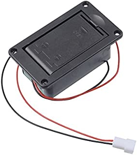 GETMusic Active Bass Guitar Pickup 9V Battery Boxs/Holder/Case/Compartment Cover With Metal Contacts Spring And 2 Pin Plug with Cable (With Spring Contact)