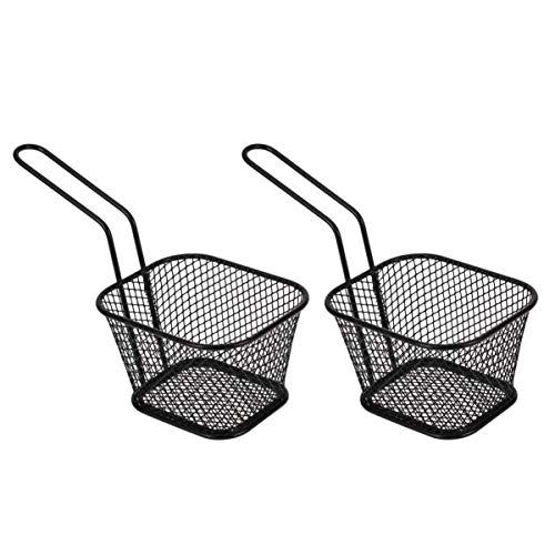 Hemoton 2 Stück Frittierkorb Mini Quadratische Chip Körbe Metall Friteuse Serviert für Hähnchenflügel Kartoffelchips Pommes Frites (Schwarz)
