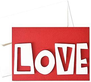 Love love love - amore - festa degli innamorati - biglietto d'auguri (formato 10,5 x 15 cm) - vuoto all'interno, ideale pe...