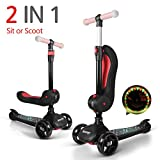 besrey Toddler Scooter Kids 3 Wheel Scooter for 2-14 Years with Self-Glowing Wheels Adjustable Seat and Handle for Toddler Child - Black red