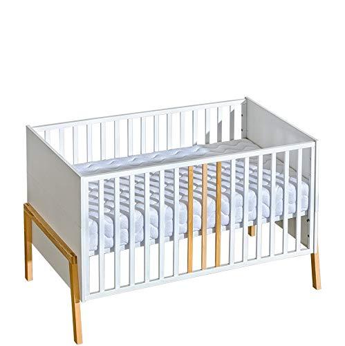 Łóżko dziecięce YETI , łóżeczko dziecięce z materacem 70x140 | Demontowalne Drążki | Regulacja Wysokości Materaca | Łóżeczko dziecięce rosnące razem z dzieckiem | Białe, uniwersalne łóżko młodzieżowe - dziewczynki, chłopcy i niemowlęta | Nowoczesne,