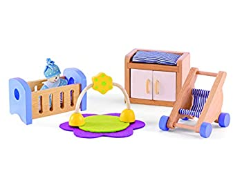 Hape Wooden Doll House Furniture Baby s Room Set