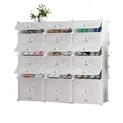 ZAIHW Organizador de Almacenamiento de Zapatos, estantería de gabinete Modular para Ahorrar Espacio, estantes de plástico para Zapatos, Botas, Pantuflas, Color Blanco, tamaño Opcional (Color: 03)