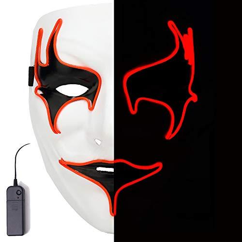 AnseeDirect Mascaras Carnaval Mascara Led Mascara Terror Máscara Vampire Rave Mask LED Glowing Mask para Halloween Fiesta Cosplay Party