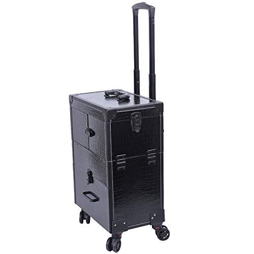 Storage Box Boîte de Rangement esthétique pour Les Ongles,Vernis à Ongles Professionnel Chariot La Roulette Universelle à 360 ° Peut verrouiller la boîte à beauté à Tige de Traction télescopique