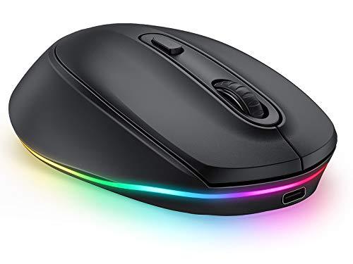seenda Kabellose Maus, Bluetooth Computermaus Wiederaufladbar, 3 Modus Funkmaus (BT3.0+BT5.0+2.4G) mit LED Beleuchtung, 2400 DPI für Laptop/iPad/PC/Windows/Mac OS/Tablet, Schwarz