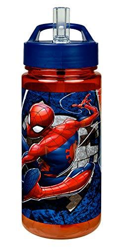 Scooli SPID9913 Aero Trinkflasche aus Kunststoff mit integriertem Strohhalm und Trinkstutzen, Marvels Spider-Man, BPA und Phthalat frei, ca. 500 ml