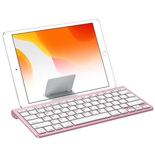 OMOTON Bluetooth Keyboard with Built-in Stand Compatible with iPad 10.2, iPad Pro 11/12.9(2020/2019), iPad Air 3, iPad Pro 10.5, iPad 9.7-inch, iPad Mini 5/4, iPhone and More Devices, Rose Gold