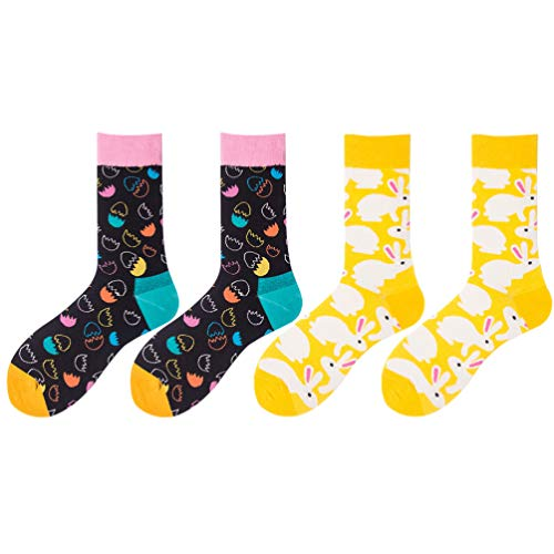 ABOOFAN 2 Paar Ostern Baumwollsocken Baumwolle Cartoon Hase Kaninchen Crew Socken Lässige Baumwollsocken für Frauen Mädchen