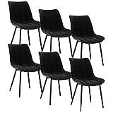 WOLTU 6 x Esszimmerstühle 6er Set Esszimmerstuhl Küchenstuhl Polsterstuhl Design Stuhl mit Rückenlehne, mit Sitzfläche aus Leinen, Gestell aus Metall, Schwarz, BH206sz-6