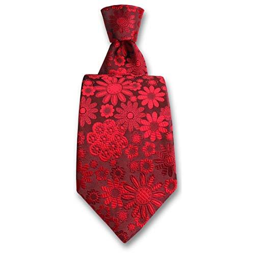 Robert Charles. Cravate. Pisa, Soie. Rouge, Motifs. Fabriqué en Italie.
