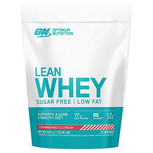 Optimum Nutrition Lean Whey Protein Powder, Low Fat, Sugar Free Lean Protein with Vitamins and Minerals, Muscle Gain, Strawberry & Cream, 347 g, 15 Servings, Packaging May Vary