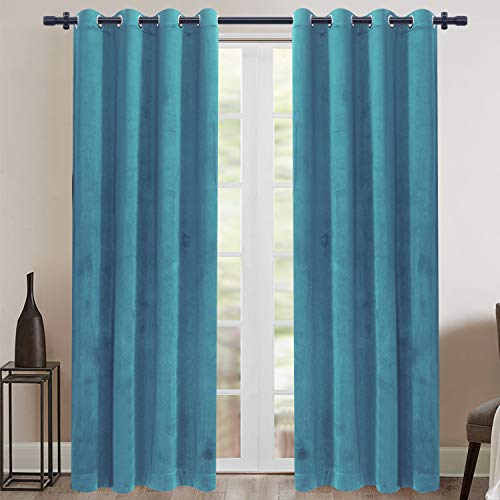 Rose Home Fashion Velvet Blackout Curtain Set with Eyelet, 2 Panels Thermal Insulated Velvet Curtains for Living Room Bedroom, 66 X 72(W X L), Teal