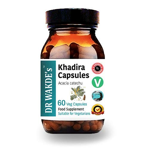 DR WAKDE'S® Khadira Kapseln (Acacia catechu) I 100% Kräuter I 60 Vegetarische Kapseln I Ayurvedische Nahrungsergänzung I KOSTENLOSER VERSAND auf mehrere I Mengenrabatt I Versand am selben Tag