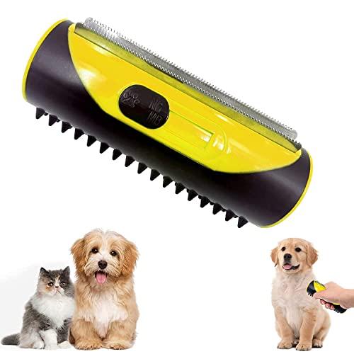 3-in-1 Unterfell- Und Enthaarungsbürste,Haustier Hundebürste Katzenbürste,Tierhaar-Entferner-Rolle,Haustier Bürsten,Fusselbürste für Hundehaare Katzenhaare,Geeignet für Alle Haarigen Haustiere
