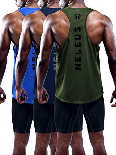 Neleus Men's 3 Pack Dry Fit Workout Gym Muscle Tank Tops,5031,Olive Green,Blue,Navy Blue,M,EU L