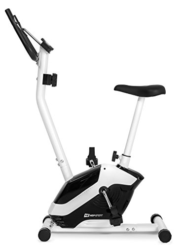 Hop-Sport HS-045H EOS Heimtrainer Fahrrad für Zuhause - kompaktes Fitnessbike mit Pulssensoren und Tablethalterung - Fitnessfahhrad mit Trainingscomputer für EIN max. Nutzergewicht von 120kg Weiß