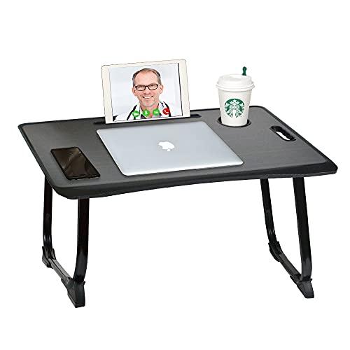 CHAIRLIN - Mesa de cama plegable, bandeja de cama, ordenador, escritorio de cama con ranuras para tazas, bandeja pequeña para desayuno para cama, sofá, suelo, tamaño 40 x 60 x 28 cm (negro).