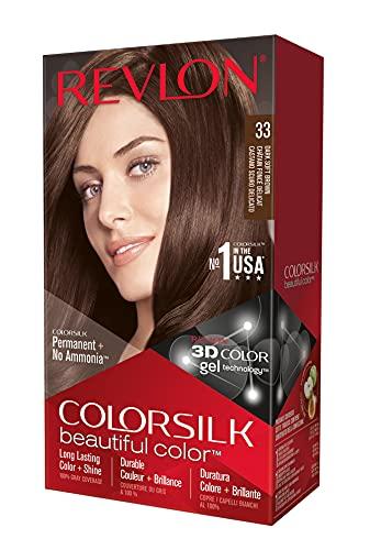 Revlon Colorsilk Beautiful Color, Permanent Hair Dye with Keratin, 100% Gray Coverage, Ammonia Free, 33 Dark Soft Brown