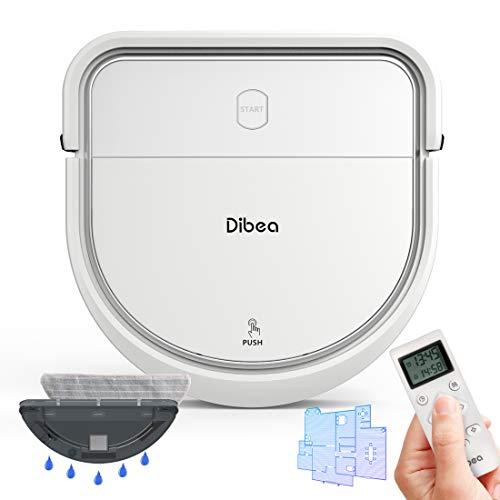 dibea Saugroboter Intelligente Navigation mit Wischfunktion Gyroskop Staubsauger Roboter Saugen Wischen Gleichzeitig 3 Saugstufen Hartböden Tierhaar Selbstaufladend D500-A Plus