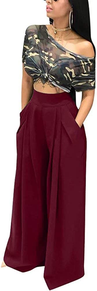 Vaceky Women Sexy High Waisted Pants Casual Solid Wide Leg Trousers with Buttons Plus Size