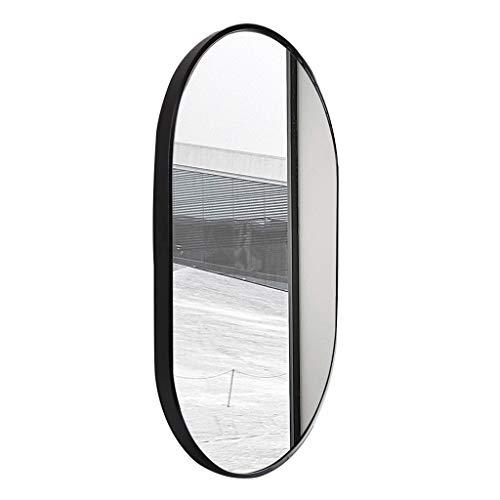 Miroir Mural Ovale Miroir de Maquillage Noir Miroir en Alliage d'aluminium Cadre Miroir de vanité HD (52 x 83 cm) Miroir de Rasage Noir pour Salon Cha