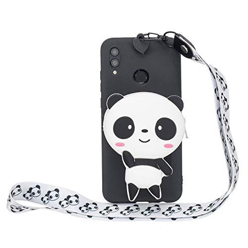 WIWJ Hülle Huawei P Smart 2019/Honor 10 Lite HandyHülle Ultra Dünn Silikon Necklace Tiere Case[Wallet] mit Kordel Schutzhülle 360 Stoßfest Wasserdicht mit Band Mädchen Tasche Handykette-Schwarz Panda