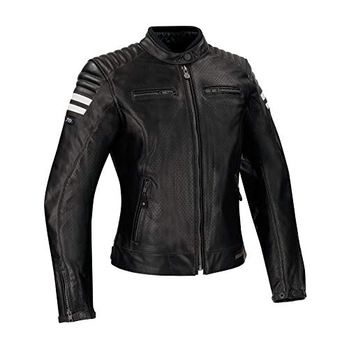 Segura Stripe Perfo Damen Motorradjacke schwarz weiß, T0/36